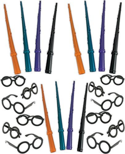 4E's Novelty Harry Potter Wizard Party Favors Set, Wand and Glasses, 12 Plastic Wizard Wands, 12 Wizard Glasses, Horry Potter Party Costume Accessory Set, Wizard Party Supplies (Plastic Wand)