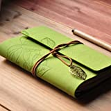 {Factory Direct Sale} Retro Vintage Dark Green PU Leather Cover Loose Leaf Blank NoteBook Diary Journal Leaf Design String Stationery Travel Gift