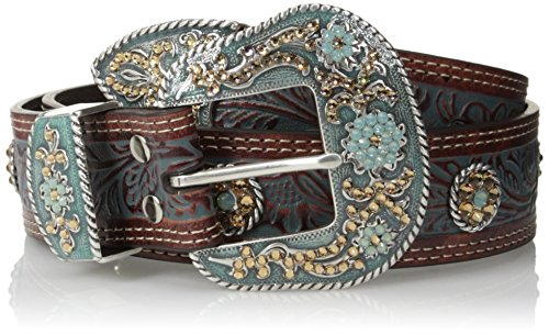 Nocona Belt Co. Women's Turquoise Paint Gold Concho Belt, brown, Small (Nocona Concho)