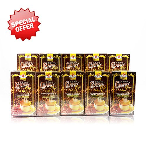 10 Boxes Gano Cafe 3-in-1 By Gano Excel USA Inc. - 200 Sachets