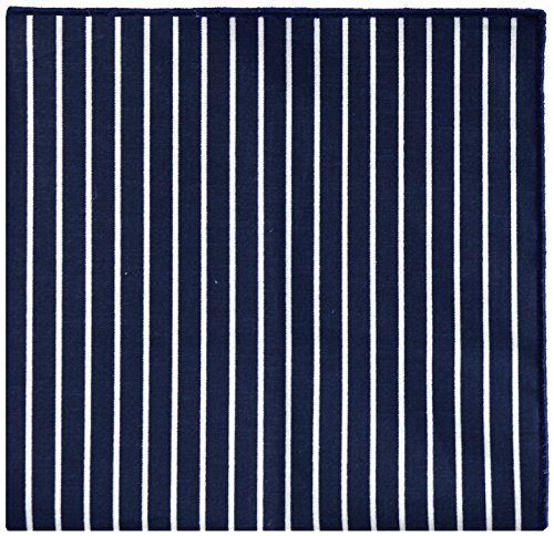 Navy Blue & White Stripe w/ Navy Button Men's Pocket Square by The Detailed Male by The Detailed Male (Image #1)
