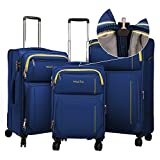 WindTook 3 Piece Expandable Luggage Set Spinner Carry On Suitcase Blue 1626