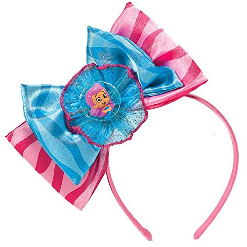 Molly Bubble Guppy Costumes (Aqua Awesome Bubble Guppies Party Deluxe Ribbon Bow Headband Accessory, Fabric, 8