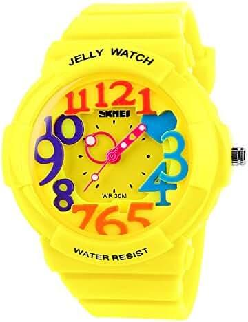 Children's Students Fashion Waterproof Jelly Quartz Sports Watches Yellow