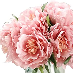 Celine lin Artificial Silk Fake 5 Heads Flower Bunch Bouquet Home Hotel Wedding Party Garden Floral Decor Peony 89