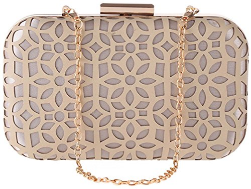 Apricot Party Wedding Handbags Bettyhome Elegant Women Purse Hollow Lady Bag Evening PU Clutches wBBOZqxA74