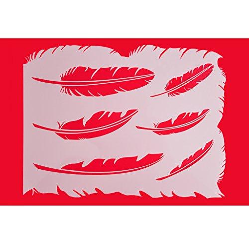 Feather Stencil (FOUR-C Cake Design Stencil Feather Design Fondant Stencil Baking Stencil Color)