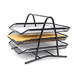 Stationary Station 3 Tier Black Mesh Steel Paper Sliding Trays, Stackable Letter Size Trays, organizer