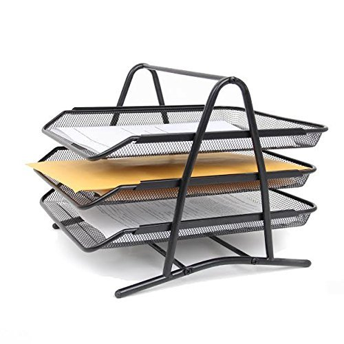 (Black Mesh Steel 3 Tier Document Paper Sliding Trays, Stackable Letter Size Trays Desktop Organizer. By Mega Stationers )