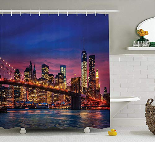 Dicobrune Bathroom Shower Curtain,New York Shower Curtain, NYC That Never SPS Reflections on Manhattan East River City Image Photo Print, Fabric Bathroom Decor Set with Hooks 60x72 Inches