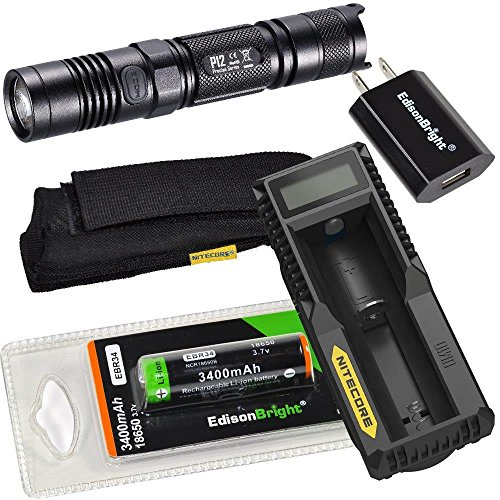 NITECORE P12 1000 Lumen high intensity CREE XM-L2 U2 LED long throw tactical flashlight with Nitecore UM10 USB powered battery charger, Edisonbright EBR34 3400mAh Protected 18650 rechargeable NCR18650B battery and EdisonBright USB power adapter bundle