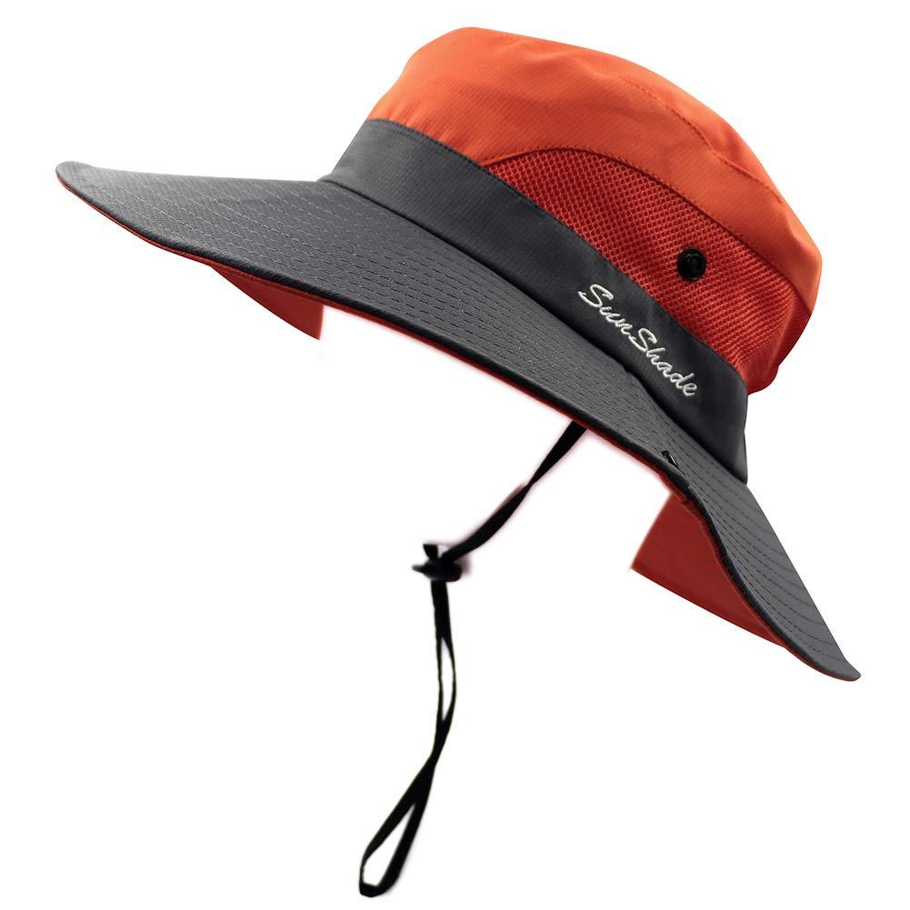 dc82970fd07d8 LVAIZ Waterproof Sun Hat Outdoor UV Protection Bucket Mesh Boonie Hat  Adjustable Fishing Cap for Women