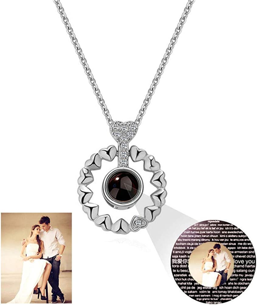 Yandam Custom Projection Necklace 100 Languages I Love You Necklace Personalized Photo Necklace
