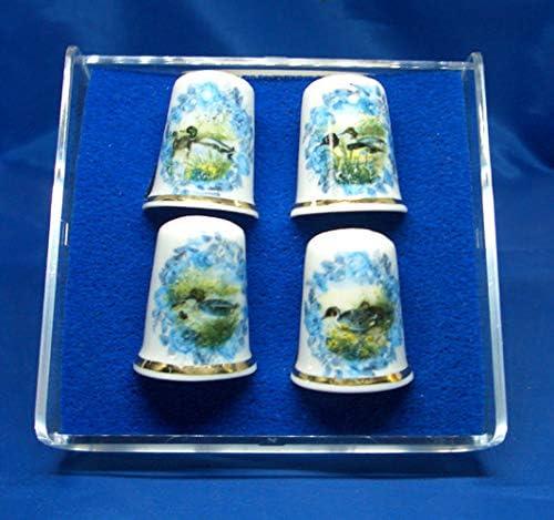 4 St/ück Birchcroft China Porzellan-Fingerhut Kamee-Enten in Geschenkbox