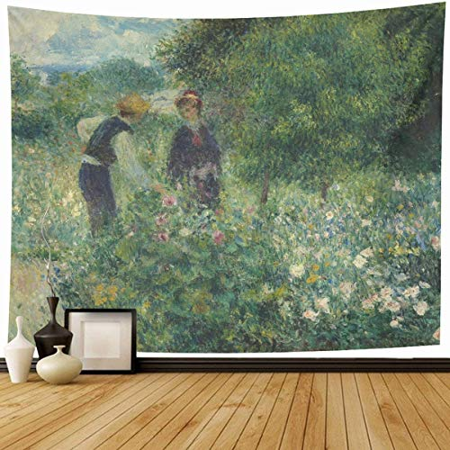 l Hanging 80x60 Near Impressionist Picking Flowers by Auguste Renoir Ground Painting Garden French Impressionism 19Th Home Decor Tapestries Decorative Bedroom Living Room Dorm (French Impressionism Painting)