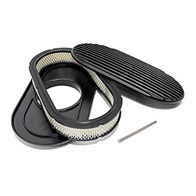 Assault Racing Products A6021-3P 15 x 2 Oval Full Finned Black Aluminum Air Cleaner Assembly Retro: Automotive
