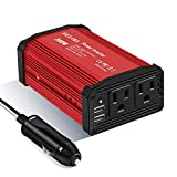 GELOO 300W Power Inverter, DC 12V to 110V AC Car Inverter with 4.8A Dual USB Charging Ports Car Charger Adapter: more info