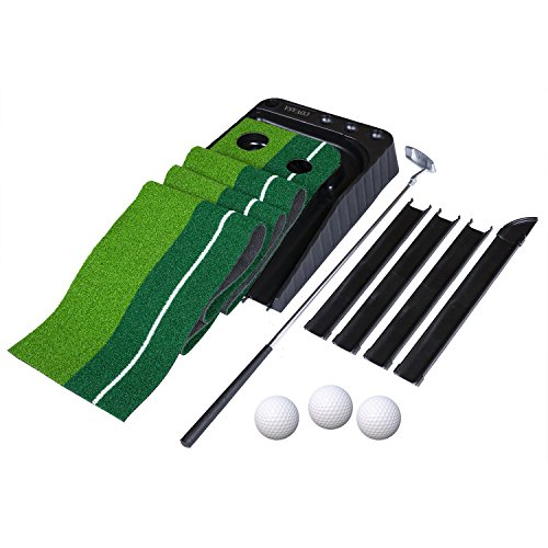 COVASA Putting Green Indoor Outdoor Golf Auto Return with 3 Ball and 1 Putter Putting Trainer Mat Dual-Track ProEdge – Extra Long 10.5 Feet Mat – 2 Holes