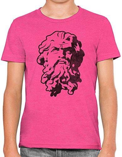 Austin Ink Apparel Greek God Statue Stencil Soft Kids Unisex Boys Cotton Tee, Berry Pink, L -