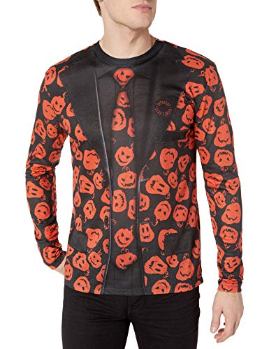 Faux Real Men's Halloween 3D Photo-Realistic Long Sleeve T-Shirt, SNL David Pumpkin Suit, Medium