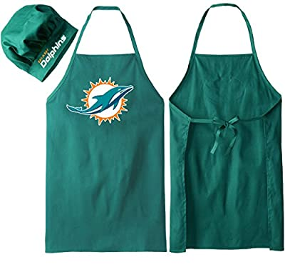Miami Dolphins (Apron Hat Set ), Barbeque Apron and Chef's Hat , Backyard BBQ, Home Kitchens