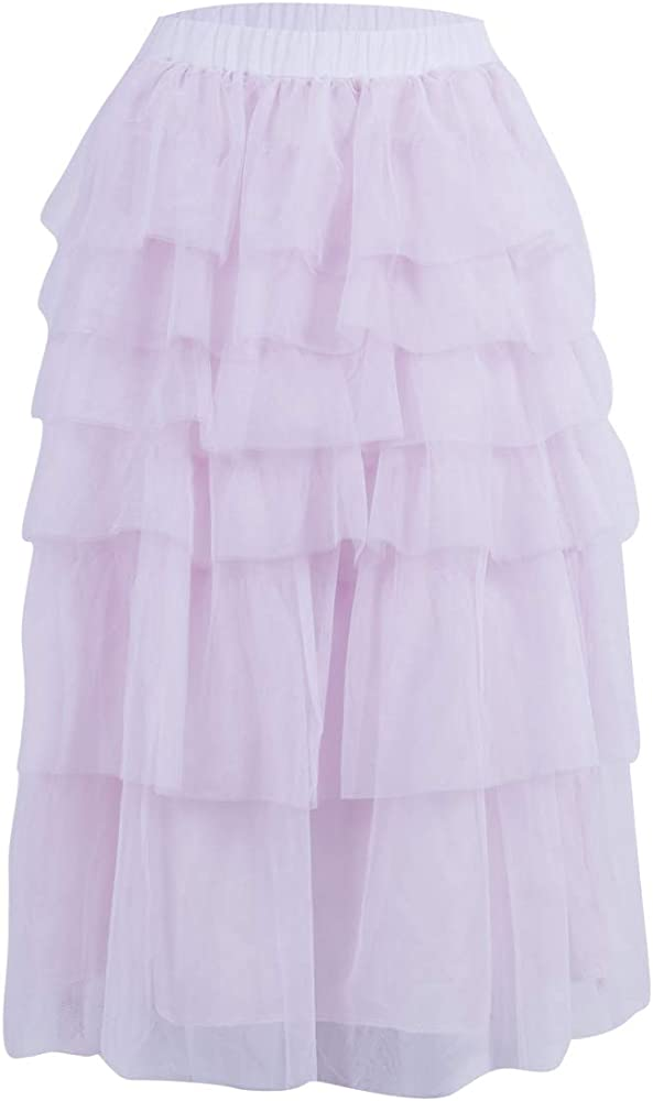 65210a176 Women Layered Tulle Skirt in Nude Pink Fluffy Princess Tiered Mesh Ballet  Prom Party Tulle Tutu