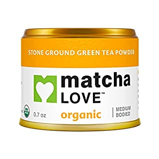 Matcha Love Organic Ceremonial Organic Green Tea Matcha Powder, Medium Bodied, 0.7 Ounce Canister