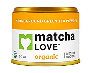 Matcha Love Ceremonial Green Tea Organic 0.7 Ounce Canister (Pack of 1) Stone Ground Green Tea Powder Japanese Style Matcha Powder Antioxidant Rich Medium Bodied Flavor