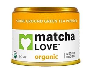 Matcha Love Ceremonial Green Tea, Organic, 0.7 Ounce Canister (Pack of 1), Stone Ground Green Tea Powder, Japanese Style Matcha Powder, Antioxidant Rich, Medium Bodied Flavor