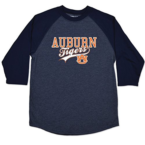 College Kids NCAA Auburn Tigers Youth Home Run Raglan Tee, Size 7/X-Small, Navy