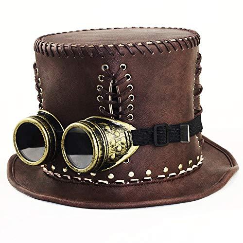 Scotch Painter's Tape Steampunk Top Hat Fascinator, Steampunk Top Hat, Steampunk Gentleman Top Hat, Steampunk Top Hat for Women, Halloween Party Party/Brown (Size : XL(65) cm) -