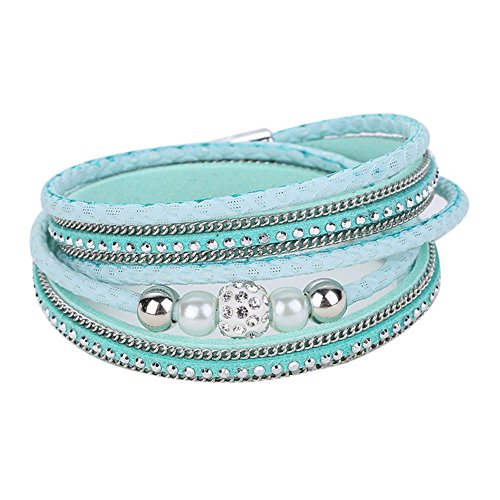 Diamondo Crystal Ball Beads Leather Bracelets Magnetic Multilayer Bangles (Green)