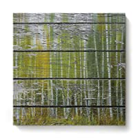 GreaBen Modern Canvas Wall Art Square Oil Painting Home Decor for Office Hotel,Retro Wood Pattern with Birch Forest Canvas Artworks,Stretched by Wooden Frame,Ready to Hang,16 x 16 Inch