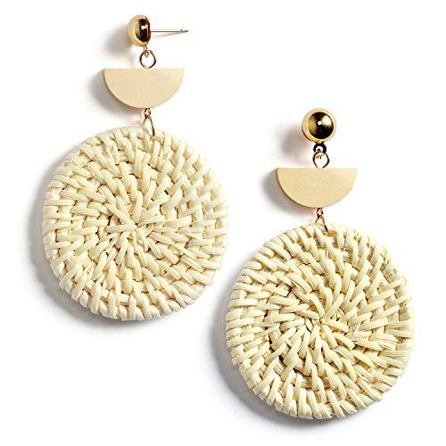 Rattan Earrings Handmade Straw Wicker Braid Hoop Drop Dangle Earrings Lightweight Geometric Acrylic Statement Earrings for Women Girls (C: 1 Pair Round Earrings)
