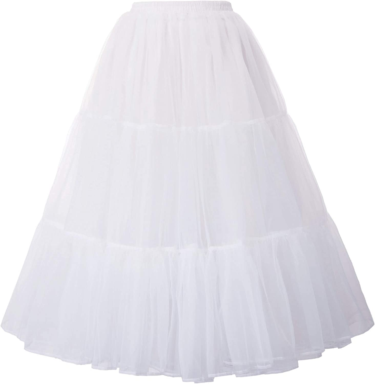 GRACE KARIN Donna Gonna in Tulle 3 Strati Tutu Sottogonna Vita Elastica Organza Petticoats Vintage