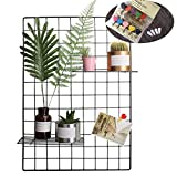 Grid Photo Wall(Set of 2), Pulatree Grid Panel Decorative Iron Rack Clip Photograph Wall Hanging Picture Wall, Ins Art Display PhotoWall 2 Packs 25.6 x17.7inch (Black)