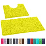 LuxUrux Bathroom Rugs Luxury Chenille 2-Piece Bath Mat Set, Soft Plush Anti-Slip Shower Rug +Toilet Mat.1'' Microfiber Shaggy Carpet, Super Absorbent Machine Washable Mats (Curved Set, Neon Yellow)