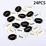 24PCS Love RockImpact Engraved Glass Inspirational Prayer Stones Gift Chakra Pebble Marble Gems Table Scatter Aquarium Decor Beads Healing Spirit Affirmation Encouraging Rocks Wholesale, 2