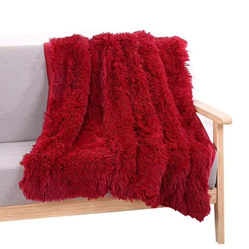 YOUSA Super Soft Long Shaggy Fuzzy Fur Faux Fur Warm Elegant Cozy With Fluffy Sherpa Throw Blanket 51''63'',Wine Red