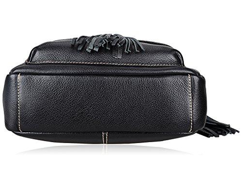 PIJUSHI Fashion Women Leather Backpack Designer Backpack For Girls Travel School Bag 8823 (Black) by PIJUSHI (Image #5)