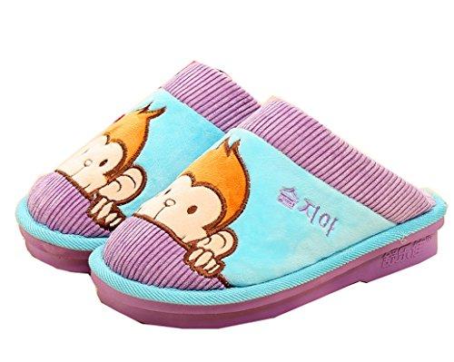 Blubi Womens Warm Plush Cute Monkey Indoor Slippers Womens Slippers Purple QxDZEcQ