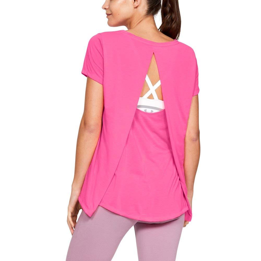 Under Armour Women's Whisperlight Short Sleeve Foldover Shirt, Mojo Pink//Tonal, X-Small