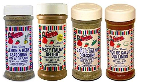 Fajita Rub - Bolner's Fiesta Salad and Seasoning 4 Flavor Variety Bundle, (1) Each: Garlic Salad, Zesty Italian Delight, Lemon & Herb, Pico De Gallo con Limon, 2-6.5 Oz. Ea.