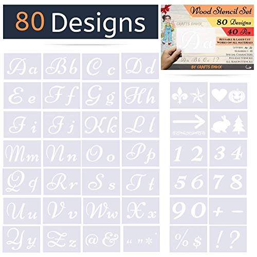 New! - 80 Designs - Letter Stencils for Painting on Wood - Alphabet with Calligraphy Font Upper and Lowercase Letters - Reusable Holiday Plastic Art Craft Stencils with Numbers and Signs - 40 Pcs