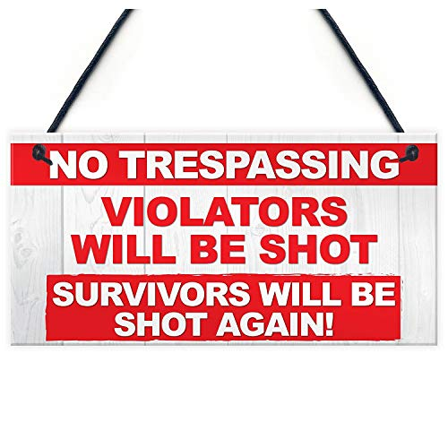 Plaque Sign - No Trespassing Violators Shot Survivors Again Hanging Plaque Entry Sign - Sign Plaque Holder Signs Personalized Plaques Signs Family Sign Sticker Metal Plate Vintage Welcome Home ()