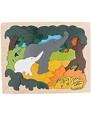 SM SunniMix Träpussel i flera skikt av trä pussel barn pedagogiska leksaker – elefant