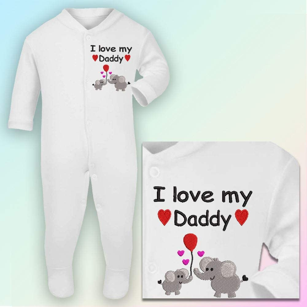 Sleepsuit in White 3-6 Months I Love Daddy Hot Pink Thread Embroidered