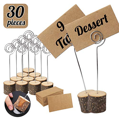Party Table Name Cards (Habbi 30pcs Wood Place Card Holders, Rustic Table Numbers Holder, Table Name Card Holder with Kraft Place Cards Bulk for Wedding or Home Party Table Number)