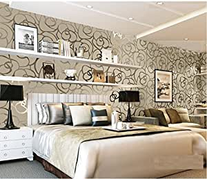 Three dimensional flocking bedroom modern minimalist for Grey and silver wallpaper living room