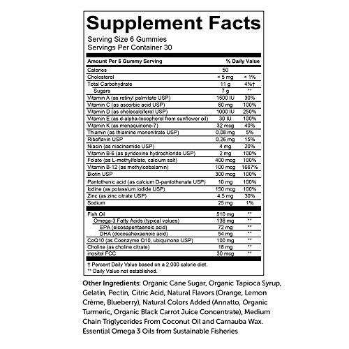 SmartyPants Women's Complete Gummy Vitamins: Gluten Free, Multivitamin, CoQ10, Folate (Methylfolate), Vitamin K2, Vitamin D3, Biotin, Methyl B12, Omega 3 DHA/EPA Fish Oil, 180 count (30 Day Supply) by SmartyPants Gummy Vitamins (Image #12)